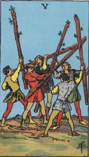 The 5 of Wands Tarot Card