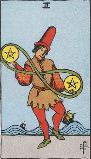 The 2 of Pentacles Tarot Card