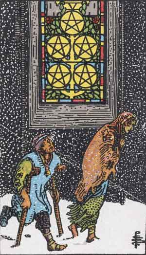 The 5 of Pentacles Tarot Card
