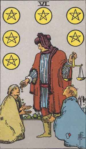The 6 of Pentacles Tarot Card