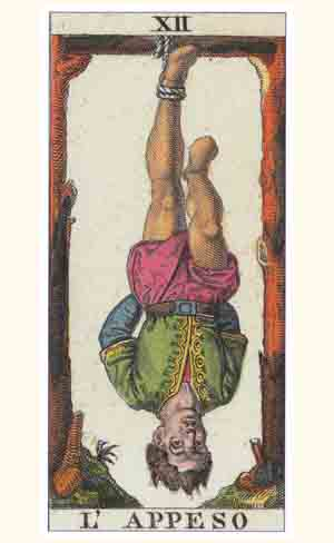 The Hanged Man Tarot Card from a Marseilles Tarot Deck