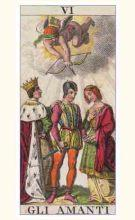 The Lovers Tarot Card from a Marseilles Tarot Deck