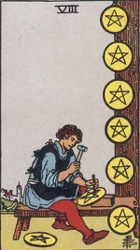 Eight of Pentacles, or Eight of Coins, Tarot card meaning and interpretation