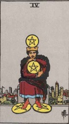 Four of Pentacles, or Four of Coins, Tarot card meaning and interpretation