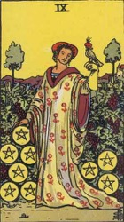 Nine of Pentacles, or Nine of Coins, Tarot card meaning and interpretation