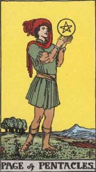 Page of Pentacles, or Page of Coins, Tarot card meaning and interpretation