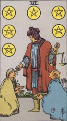 Six of Pentacles, or Six of Coins, Tarot card meaning and interpretation