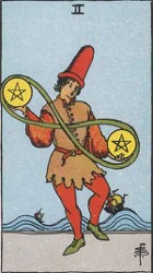 Two of Pentacles Tarot card meaning and interpretation