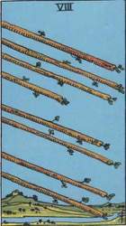 Eight of Wands, Rods or Batons, Tarot card meaning and interpretation