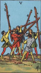 Five of Wands, Rods or Batons, Tarot card meaning and interpretation