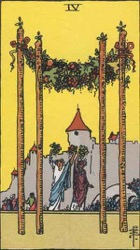 Four of Wands, Rods or Batons, Tarot card meaning and interpretation