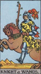 Knight of Wands, Rods or Batons, Tarot card meaning and interpretation