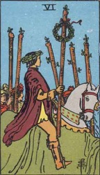 Six of Wands, Rods or Batons, Tarot card meaning and interpretation