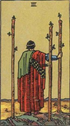 Three of Wands, Rods or Batons, Tarot card meaning and interpretation