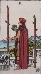 Two of Wands, Rods or Batons, Tarot card meaning and interpretation